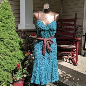Betsey Johnson teal crochet tank dress silk midi 8